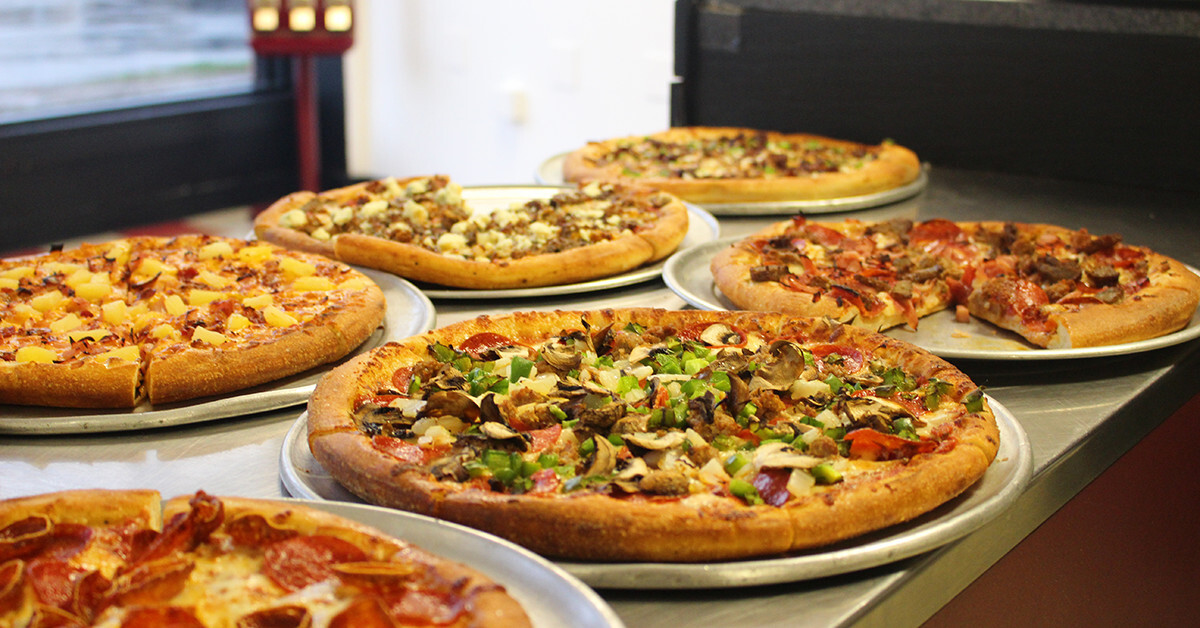 five of sloopy's speciality pizzas